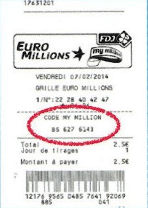 euromillions dernier tirage code my million